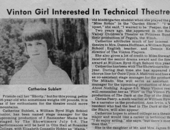 Vinton Girl Interested in Technical Theater